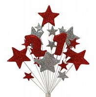 Number age 21st birthday cake topper decoration in red and silver - free postage